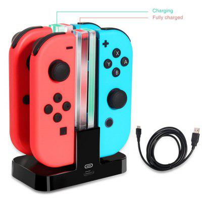 New 4 In 1 LED Charging Dock Station For Nintendo Switch 4 Joy Con Controllers