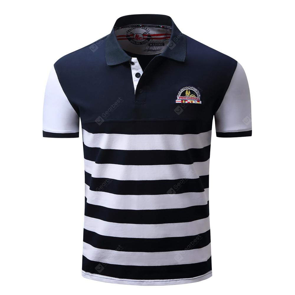 Men'S Lapel Shirt Fashion Striped Summer Short Sleeve Tops