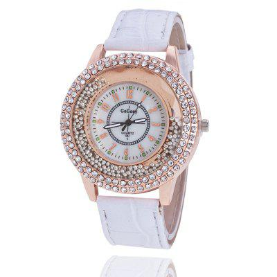Brand Beads Leather Women Ladies Crystal Dress Quartz Wrist Watch