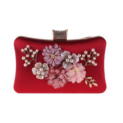 The Lady'S Hand Bag Flower Polyester Evening Bags Pearl Small Package