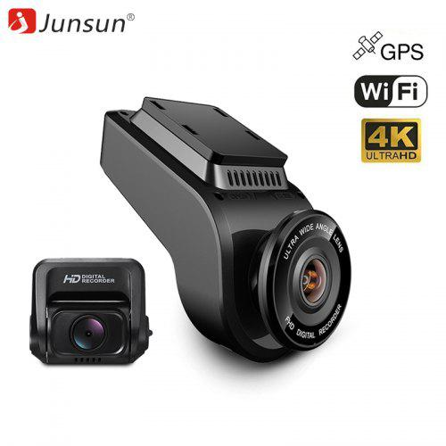 JunsunS590 4k Ultra HD WiFi Car Dash Cam 2160p 60fps ADAS Dvr with 1080p - BLACK 1PC
