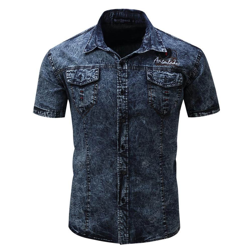 Men'S Summer Short Sleeve Cotton Jeans Shirt Casual Lapel Shirt Tops