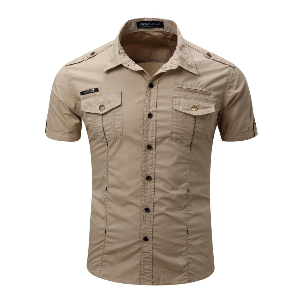 Men's Summer Short Sleeve Cotton Shirt Casual Lapel Shirt Tops