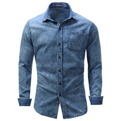 Spring Men'S Lapel Long Sleeve Shirt Casual High Quality Cotton Plus Size Tops