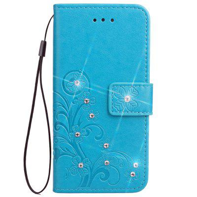 Wallet case For Cubot X18 Plus Embossed Flower PU Leather Bling Diamond Cover