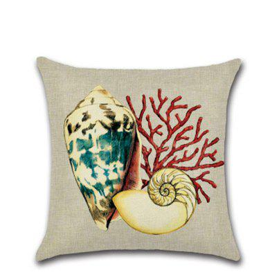Mediterranean Style Conch Octopus Coral Hug Pillowcase Linen