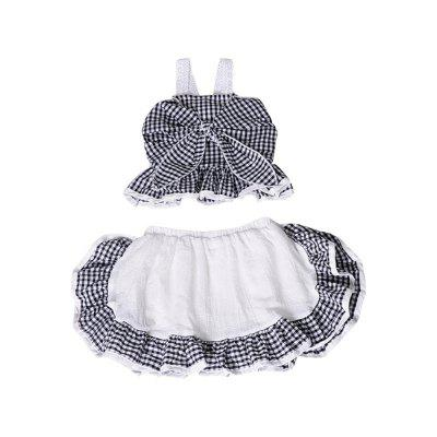 Summer Girl Big Bow Plaid Strap Top + Pleated Skirt Pants Two-Piece