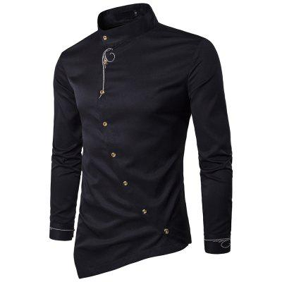 Men's Personality Oblique Button Embroidery Stand Collar Long Sleeve Slim Shirt