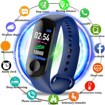 V5 M3PLUS Intelligent LED Color Screen Watch Sports Health Pedometer