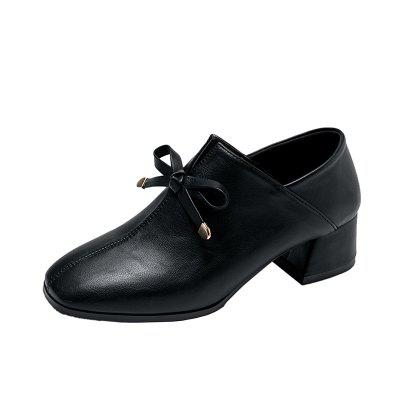 Coarse Heeled Butterfly knotted Single Shoes Small Leather Shoes