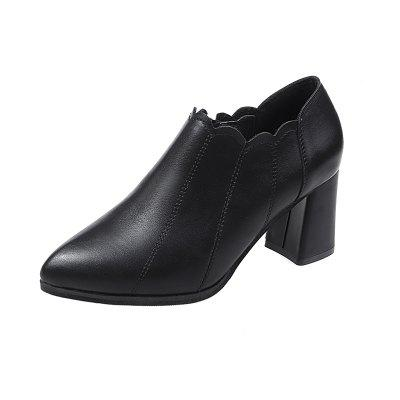 High Heeled and Thick Heeled Shoes Zipper and White Tied Casual Womens Single S