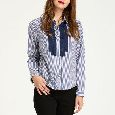 SBETRO Striped Office Lady Shirt with Ribbon Office Blouse Women