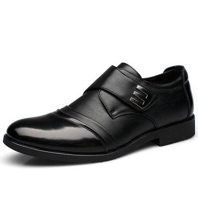 New Men Classic Color Blocking Hook-Loop Business Casual Leather Shoes
