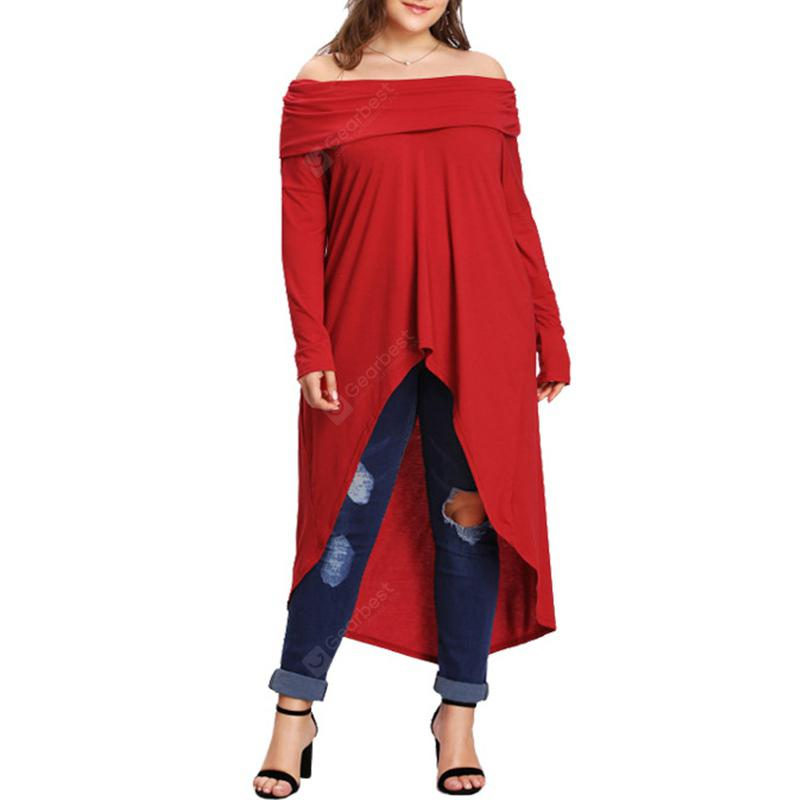 Women Off The Shoulder Solid One Word Collar Long Sleeve