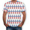 3D Summer Alien Striped Print Men's Short Sleeve T-shirt - MULTI