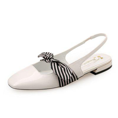 Square Head Vintage Patent Leather Bow Flats with Flats
