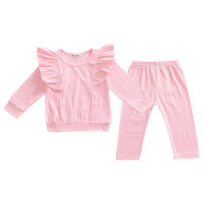 Children'S Clothing Girls Cotton Small Flying Sleeves Shirt + Pants Suit