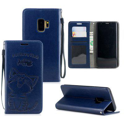 Para Samsung S9 gatos adoram comer Fish Wallet Bracket All Inclusive Phone Case
