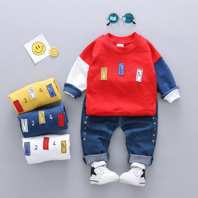Baby Boy's 2 Pcs Set Letter Long Sleeve Top And Pants Baby Clothes