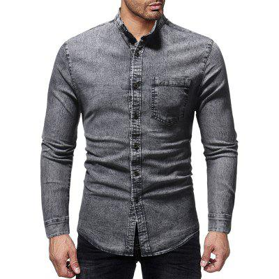 Men's Casual Slim Stand Collar Long Sleeve Wash Shirt
