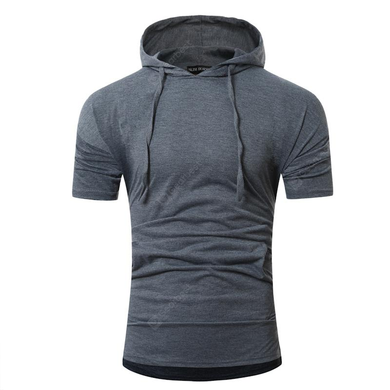 Simple Solid Color Casual Slim Hooded Short-Sleeved T-Shirt