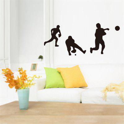 Baseball Character Silhouette Home Background Wall Decoration Sticker Removable