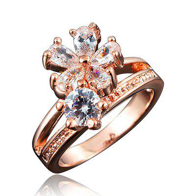 Fashion 18K Gold Plated Ring Fine Jewelry Flower Shape Ring