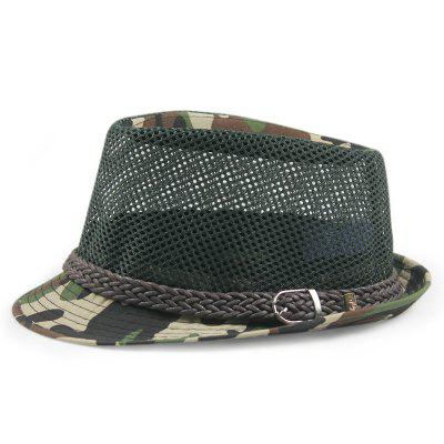 Mesh Breathable Straw Hat Outdoor Travel Hat Belt Buckle Camouflage Jazz Hat