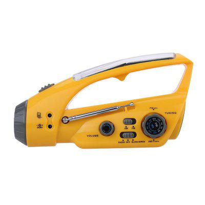 AM/FM Radio with Hand Power Generation Solar Torch