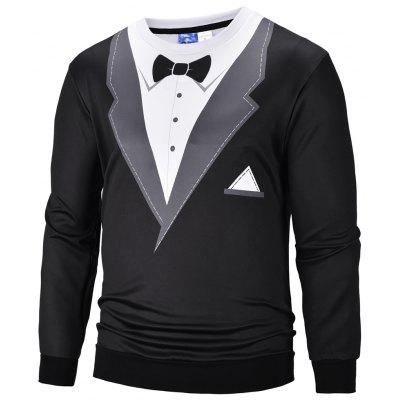 Men's Suits 3D Printed Round Neck Sweater