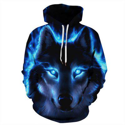 Men's Winter 3D Blue Eye Wolf Print Long Sleeve Hoodie