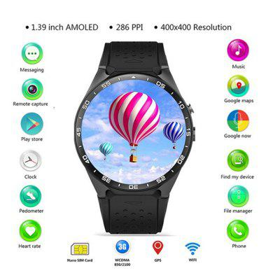 KW88 Smart Phone Watch Android 5.1 1.39Screen 3G MTK6580 512MB 4GB GPS Pedometer Image