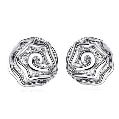 925 Silver Plated Women Elegant Rose Earrings