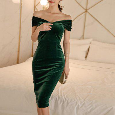 Women Sexy Dress Solid Party Banquet Bottoming V-Neck Pencil Dress