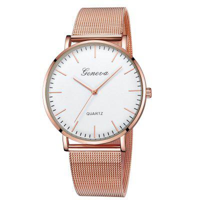 GENEVA Women Casual Classic Quartz Stainless Steel Mesh Wristwatch