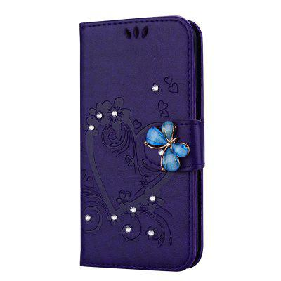 Diamond Butterfly Leather Wallet Case for Samsung Galaxy A7 2018 / A750