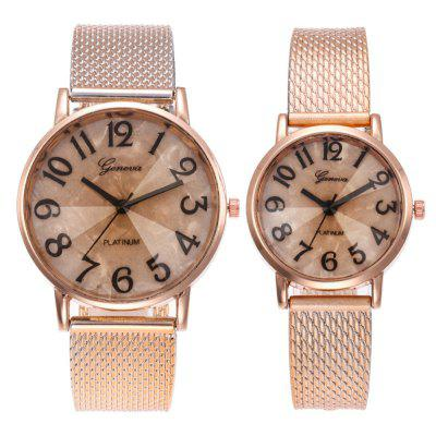 Men and WomenFashion Rose Gold Arabic Digital Couple Watch