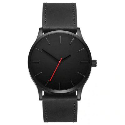 Men Fashion Sports Large Dial Quartz Leather Wrist Watch