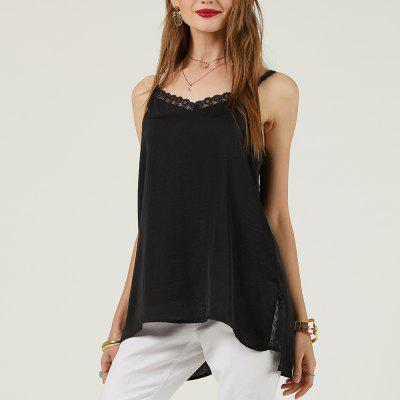 SBETRO V Neck Lace Strap Black Shirt Women Cami Top
