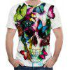 3D Summer Fashion Butterfly Skull Print Men's Short Sleeve T-shirt - MULTI