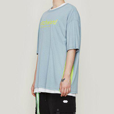 INFLATION Spring and Summer Letter Print Stitching Men'S Short Sleeve T-Shirt
