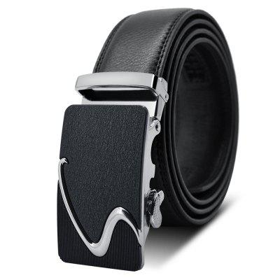 S Buckle Frosted Surface Zinc Alloy Automatic Leather Business Belt