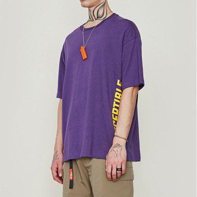INFLATION Spring and Summer English Printed Loose Men'S Short-Sleeved T-Shirt