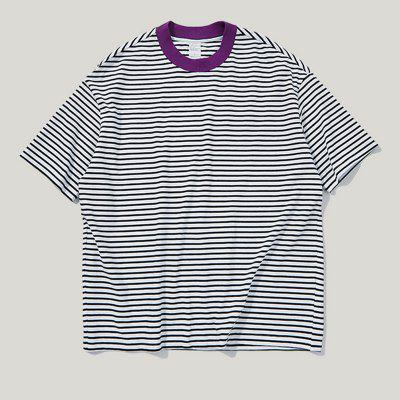 INFLATION Spring and Summer Stitching Striped Men'S Short-Sleeved T-Shirt