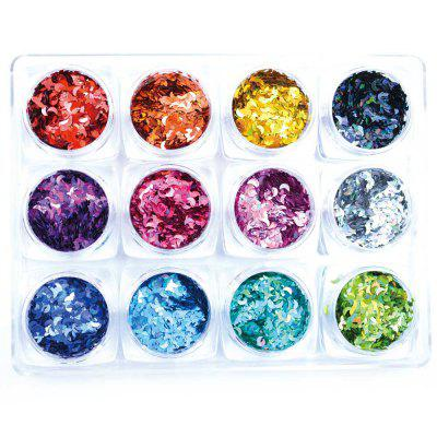 1 Box 12 Color Glitter 3D Ultrathin Sequins With 4 Design Hexagon Nail Decors
