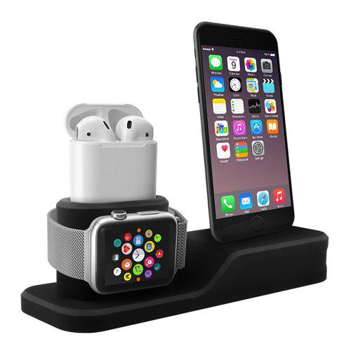 Gearbest Silicone 3 in 1 Charging Stand Holder Dock for iPhone for Apple Watch/ AirPods - Black