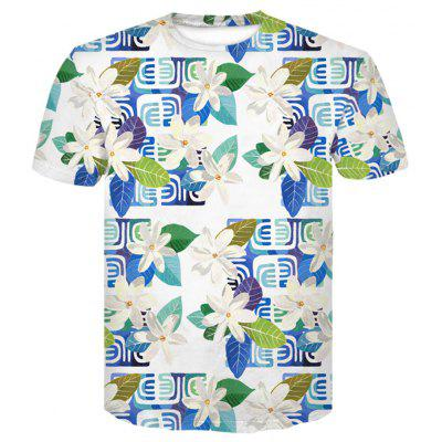 Men's  Summer Short Sleeve Digital Print 3D Flower T-Shirt