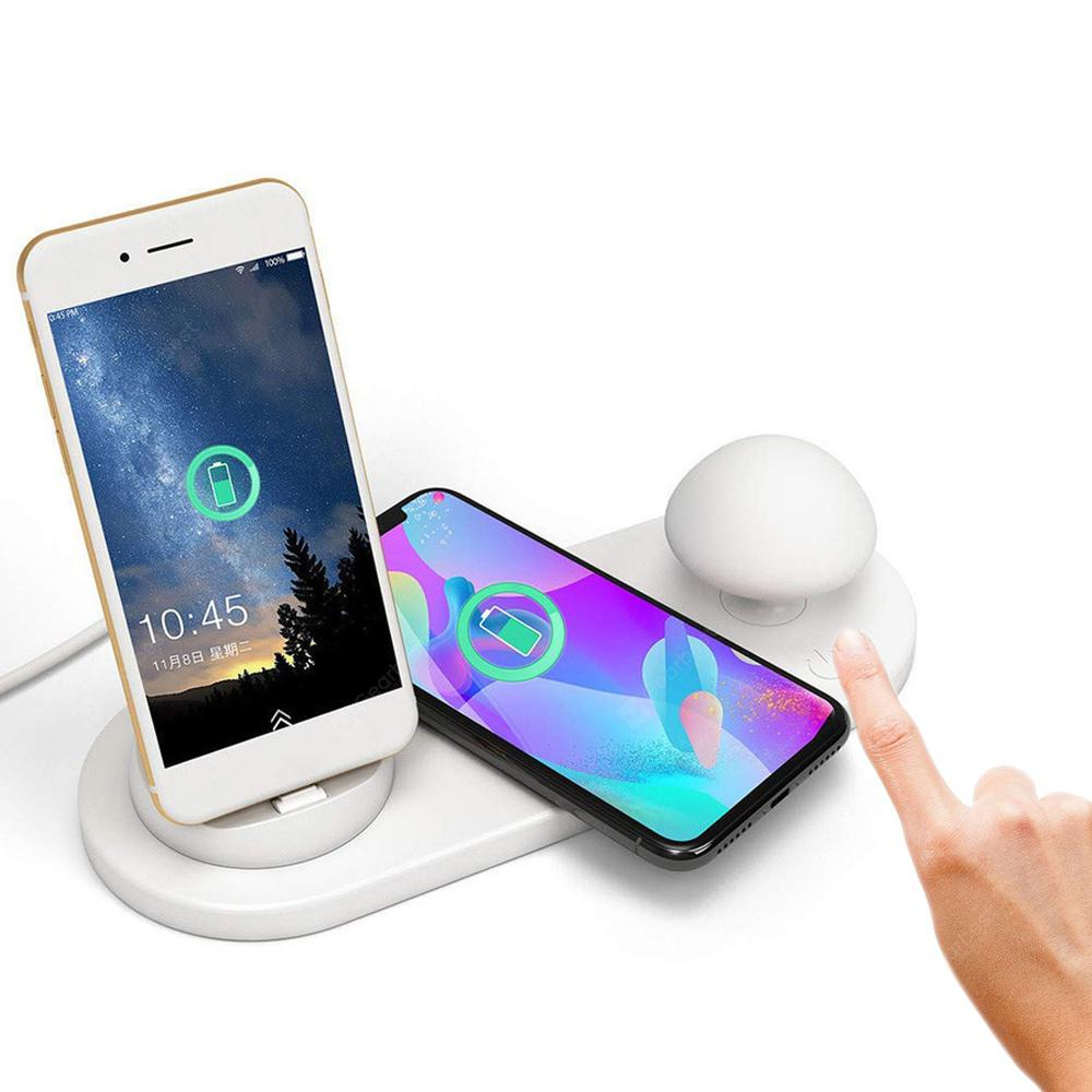 BRELONG Multifunctional Cute Phone Holder Wireless Charger Night Light - WHITE