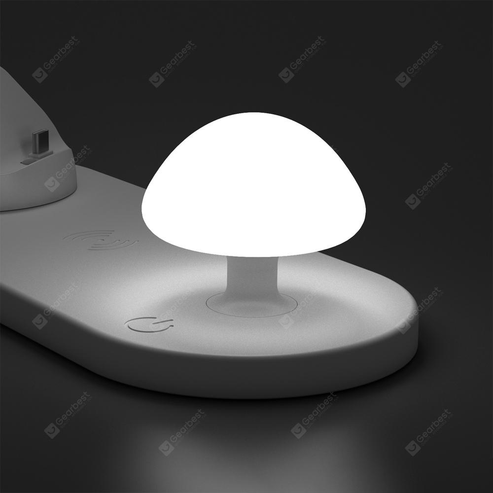 Wireless Fast Charging with Three USB Output Ports Touch Silicone Night Light WHITE