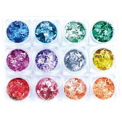1 Box 12 Color Glitter 3D Ultrathin Sequins With 4 Design Rectangle Nail Decors